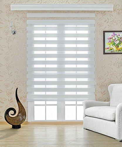 Double Store 160 cm de largeur x 250 cm de longueur couleur blanc avec plus large Ballast + fermé CASSETTE + TREUIL alternative à rideau ou plissée Duo Rollo