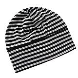 Phenovo Adult Unisex All Cotton Night Cap Sleep Eyecover Striped Headcap Black Grey