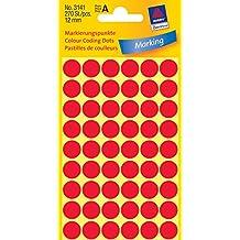 AVERY Zweckform 3141 Markierungspunkte (270 Stück, Ø 12 mm, 5 Blatt) rot