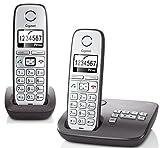 Gigaset E310A Duo Dect-Großtasten-Schnurlostelefon mit Anrufbeantworter (inkl. 1 zusätzlichen Mobilteil) anthrazit