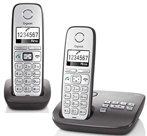 Gigaset E310A Duo Telefon - Schnurlostelefon / 2 Mobilteile - Grafik Display - Grosse Tasten Telefon - Anrufbeantworter -  Freisprechfunktion - Analog Telefon - schwarz (Speicher Schnurloses Telefon)