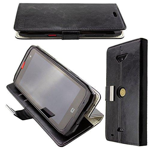 caseroxx Hülle/Tasche Bookstyle-Case schwarz + Displayschutzfolie für Crosscall Action-X3, Set bestehend aus Bookstyle-Case und Displayschutzfolie
