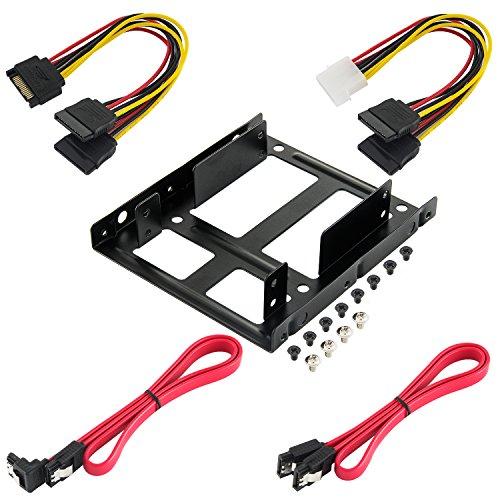 Poppstar HDD SSD Einbaurahmen (Einbau-Kit mit HDD SSD Halterung für Interne 2,5 Festplatten, Sata 3 Kabelset, Y-Stromkabelset und Schraubensets)