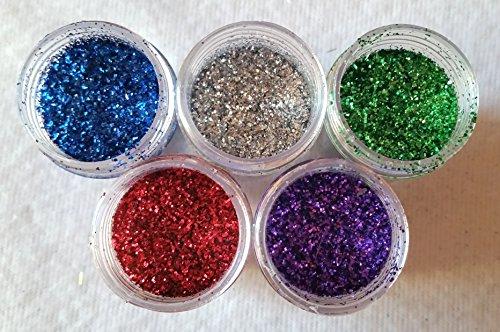 NEW Nail Art Glitter 5 pièces, Bleu, Argent, vert, rouge, violet, poudre de paillettes poudre paillettes 3 G döschen Jaquette pour einarbeitung dans Kit ongles ongles Design