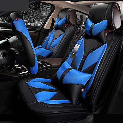 Universal Fit 5 Sitze Auto umgeben Leder Autositzbezüge, Vier-Jahreszeiten-Universal-Anti-Rutsch-Sitzbezüge Protector mit Rückenlehne,blue - Blau Lammfell Brieftasche
