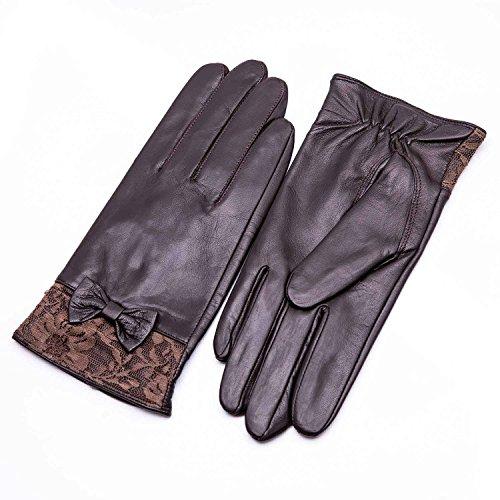 YISEVEN Damen Braun Lederhandschuhe echtes Schaffell Leder Touchscreen Handschuhe-Large/7.5