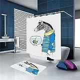 tkopainsde 3d Digital cortina ducha Zebra Cómic de pescado Delizioso grosor impermeable Antimoho baño Cálido la Panel de la ducha c-gancio