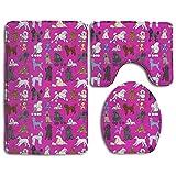 RedBeans Poodles 3-teiliges Badezimmerteppich-Set, Badematte, Konturmatte, Deckelbezug, Rutschfest mit Gummi-Rückseite, Fuchsia, 3-teilig
