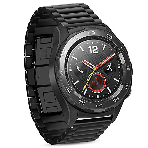huawei smartwatch 2 classic iBazal Cinturino Huawei Watch 2 Metallo Cinturini Acciaio Compatibile con Galaxy Watch 42mm/Active/Gear S2 Classic/Gear Sport/Ticwatch 2/E/Vivoactive 3/Vivomove HR(Orologio Non Incluso)- Classico Nero