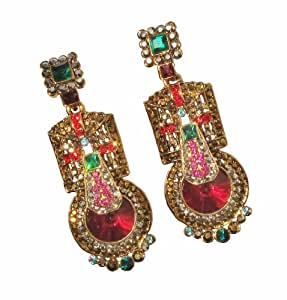 Butler & Wilson Art Deco Gold & Multi Crystal Earrings