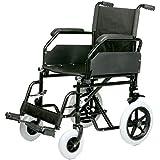 Silla de ruedas plegable de acero de asiento 45 cm