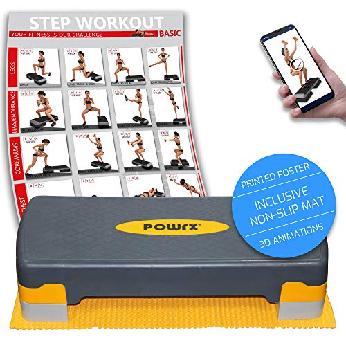 POWRX Steppbrett inkl. Workout & Anti-Rutsch-Matte I Aerobic Stepper höhenverstellbar I Home Step Stepbench Gymnastik Gelb