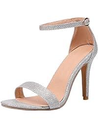 9eca9e0a COOLCEPT Zapatos Mujer Moda Punta Abierta Tacon de Aguja Tacon Alto Al  Tobillo Sandalias Comodo Boda