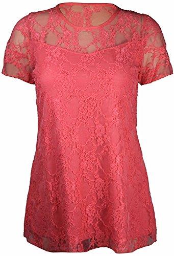 Neue Damen Blumen Spitze Kurze Ärmel Gefüttert Gemustert T-Shirt Stretch Tunika Party Top Plus Größe UK 14–28 Korallenrot