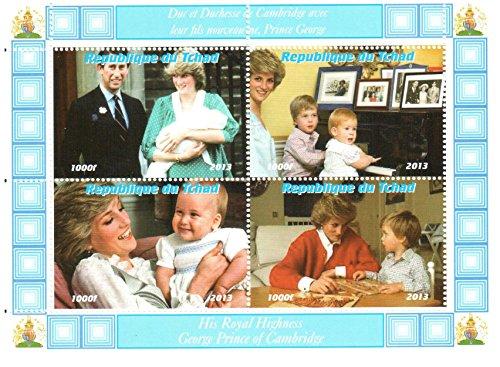 Königliches Baby Briefmarken für Briefmarkensammeln - The Royal Baby-Prince George, Kate Middleton, Prinz William, Prinz Charles und Prinzessin Diana Mini Sondermarken - 4 postfrische Briefmarken auf einer postBriefMarkenBogens - lose (Diana Prinz Charles)