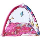 Samaaya Baby Bedding Set With Foldable Mattress & Mosquito Net, Baby Kick And Play Gym (Pink)