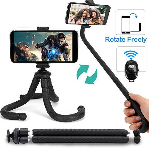 Coolwill PL-1828 Flexibles Stativ für Smartphone Selfie-Stick mit Drahtloser Bluetooth-Fernbedienung, Mini-Reisestativ für iPhone, Android, Samsung und Andere Handy (Schwarz)