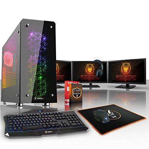 Fierce Storm RGB Gaming PC Bundeln – Schnell 4 x 3.7GHz Quad-Core AMD Ryzen 5 1500X, 1TB Seagate FireCuda Solid State Hybrid Drive, 16GB von 2133MHz DDR4 RAM / Speicher, NVIDIA GeForce GTX 1060 6GB, Gigabyte AB350M-Gaming 3 Hauptplatine, GameMax Sirius RGB Computergehäuse, HDMI, USB3, Wi – Fi, VR Bereit, Perfekt für Wettkampfspiele, Windows nicht Enthalten, Tastatur (VK/QWERTY), Maus, 3x 24-Zoll-Monitore, Headset, 3 Jahre Garantie 377181 51NoE085qiL