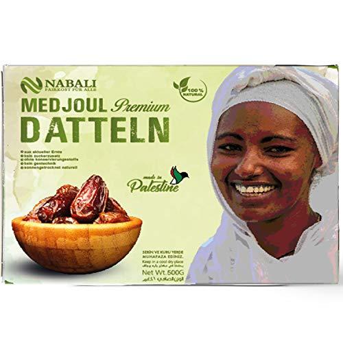 Medjoul - Medjool Datteln aus Palästina 500 g | Qualitätsware - 100% naturell | naturbelassen | aromatisch | unbehandelt | ohne Konservierungsstoffe | Vegan | Jumbo