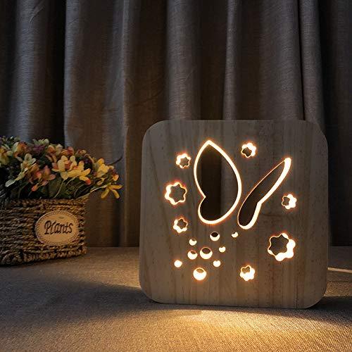 (LED Schmetterling Lampe Illusion Nachtlicht Cartoon Holz Lampe 3D Holz Schnitzerei Muster LED Nachtlicht Warmweiß Illusion Lampe für Geburtstag Geschenke Niedlich Halloween Geschenke)