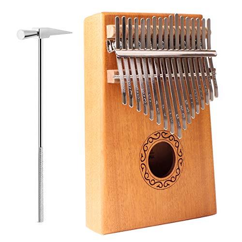 SZRWD Kalimba Daumen Schutz, Finger Klavier/Daumenklavier/Kalimba Instrument mit Lehrvideo, Musikbuch, Stimmhammer, Tragetasche usw.
