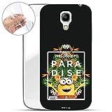 Hülle für Samsung Galaxy S4 Mini - Minions Handyhülle mit Motiv und Optimalen Schutz TPU Silikon Tasche Case Cover Schutzhülle - Welcome to Paradise