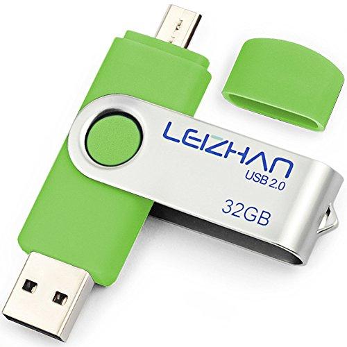 LEIZHAN PenDrive Chiavetta USB 32GB Memory Sticks OTG(On the Go) 2 in 1(Micro USB & USB 2.0) Dispositivo di Archiviazione Supporto Telefono Android Tablet PC verde