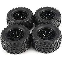 4Pcs 130mm 10 Contour Dump Fetal Flower Off-Road Wheel Rim y neumáticos para 1/10 Monster Truck Racing RC Car Accesorios - Negro