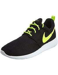 Nike Kid's Roshe One (GS), BLACK / VOLT-WHITE, Youth Size 4.5