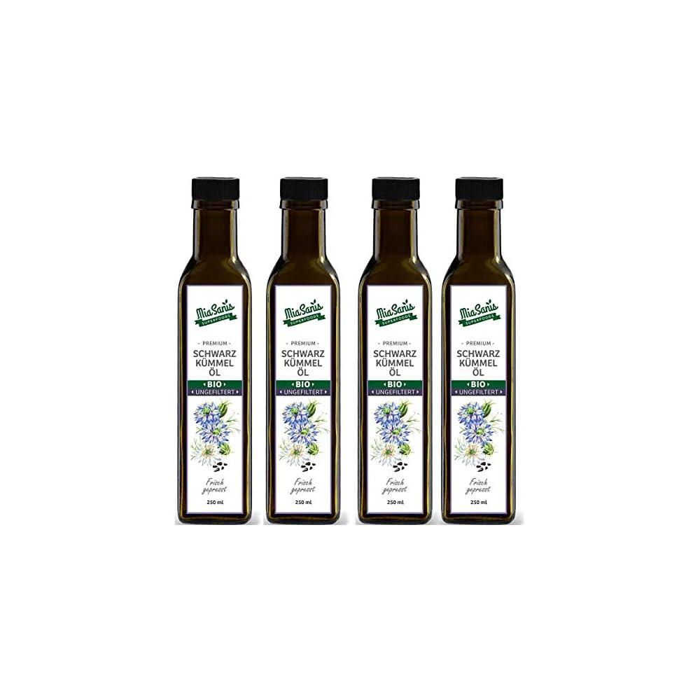 Miasanis Bio Schwarzkmmell Ungefiltert 1 Liter Kaltgepresst Aus Gyptischen Schwarzkmmel Samen Tglich Frisch Aus Eigener Lmhle 4 X 250ml