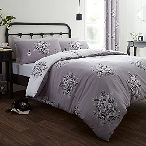 Catherine Lansfield Home Designer Collection Floral Bouquet Duvet Cover Set, Grey, Double