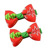 #9: Angel Closet Christmas Bow Hair Clips Pair for Girls - Red