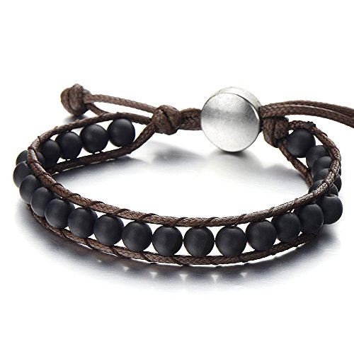 Herren Damen Armband aus Perlen, Tibetan Beads Buddhist Prayer Mala, Synthetischen Schwarzen Onyx