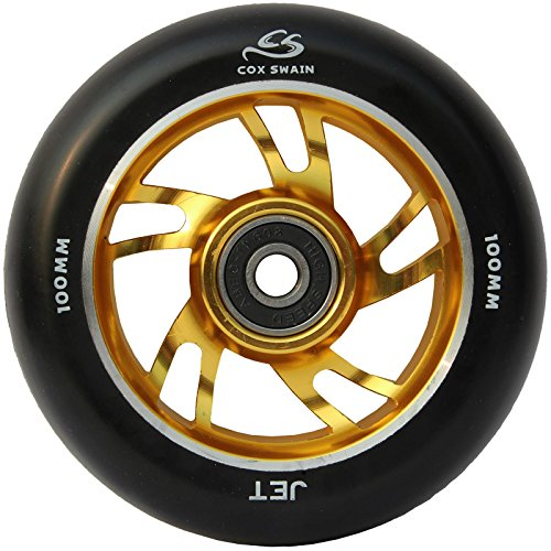 Cox Swain 2 Stk. High End 100mm Stunt Scooter Rollen Alu Core - Abec 11 Lager, Colour: Jet (Black/Gold), Size: 100mm