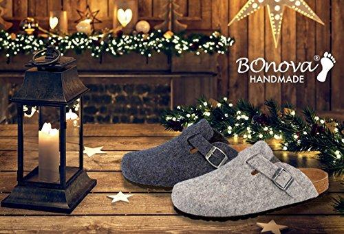BOnova® Wesel Hausschuhe, Filzpantoffeln aus natürlicher Schurwolle - HANDMADE IN SPAIN Blau