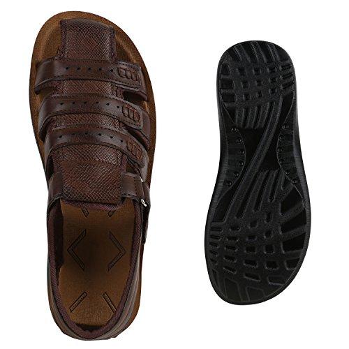Herren Komfort Sandalen Bequeme Freizeit Schuhe Lederoptik Dunkelbraun Braun