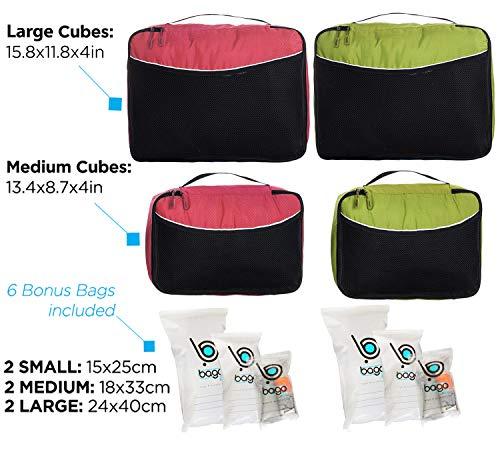 Luggage Packing Cubes 4pcs Value Set - Plus 6pcs Ziplock Bags - 2 x Green / 2 x Red