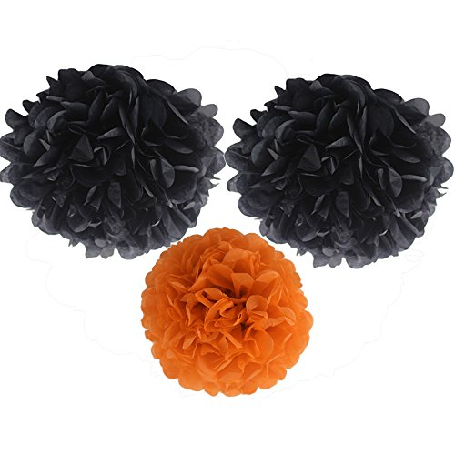 Ipalmay 9er Halloween Seidenpapier Pom Poms 25 cm, 30 cm Blumen Ball für Halloween, Thema Party Dekorationen, Orange und Schwarz