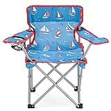 Yello sedia pieghevole per bambini, per andare a pesca, campeggio, escursioni, picnic, giardino, Bambino, Sailboats Beach, Blue