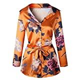 CYimejo Elegant Women's V-Neck Printing Loose Mini Bandage Orange M