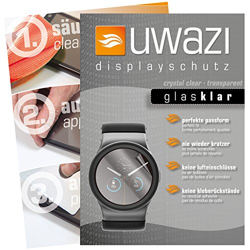 uwazi I 5X Glas-klare Schutzfolie für Uhr 40 mm Durchmesser Displayschutzfolie I Folie I Anti Fingerabdruck I Anti Kratzer
