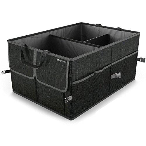 Preisvergleich Produktbild DegGod Auto Kofferraumtasche mit Klett, 56CM Multifunktion Faltbare Auto Kofferraum Organisator Dauerhaft Autotasche Aufbewahrung (Oxford Tuch, Schwarz)