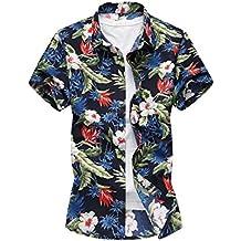34f4d05d7 Yacun Hombres Camisas Hawaianas Causal en Playa Verano Manga Corta Algodón  para Vacaciones Tops