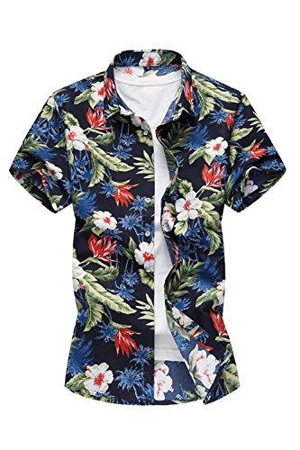 c7f578772 Yacun Hombres Camisas Hawaianas Manga Corta Casual Tops Florenavy S