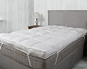 Bedding Direct UK - Hotel Quality Luxury 100% 200TC Cotton 4 inch Thick Mattress Topper (Single Size)