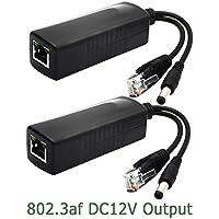 ANVISION 2-Paquete Activo PoE Splitter Adaptador IEEE 802.3af Cumple 10 / 100Mbps, DC 12V Salida para IP Cámara Wirelss AP Router Voip Teléfono AV-PS12