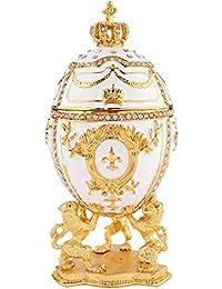 b4edd5eb465 QIFU Boîte à Bijoux en Forme d œuf Fabergé Peint à la Main avec émail