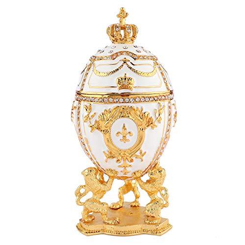 QIFU Boîte à Bijoux en Forme d'œuf Fabergé Peint à la Main avec émail Riche et Strass...