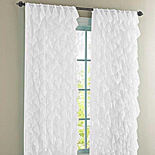 Lorraine Home Fashions Cascade Shabby Chic Sheer Rüschen Vorhang Panel, Polyester-Mischgewebe, weiß, 84