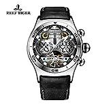 Reef Tiger para hombre único Tourbillon Reloj con Año Mes Día y Fecha Esqueleto Dial rga703 (RGA703-YBB)